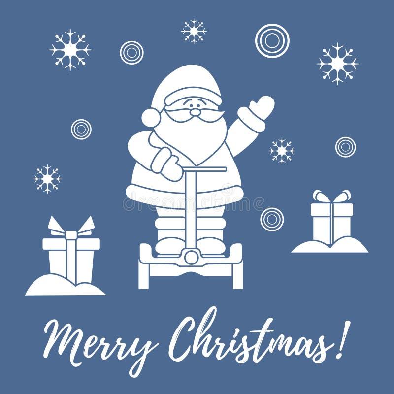 Santa Claus, giften, sneeuwvlokken vector illustratie
