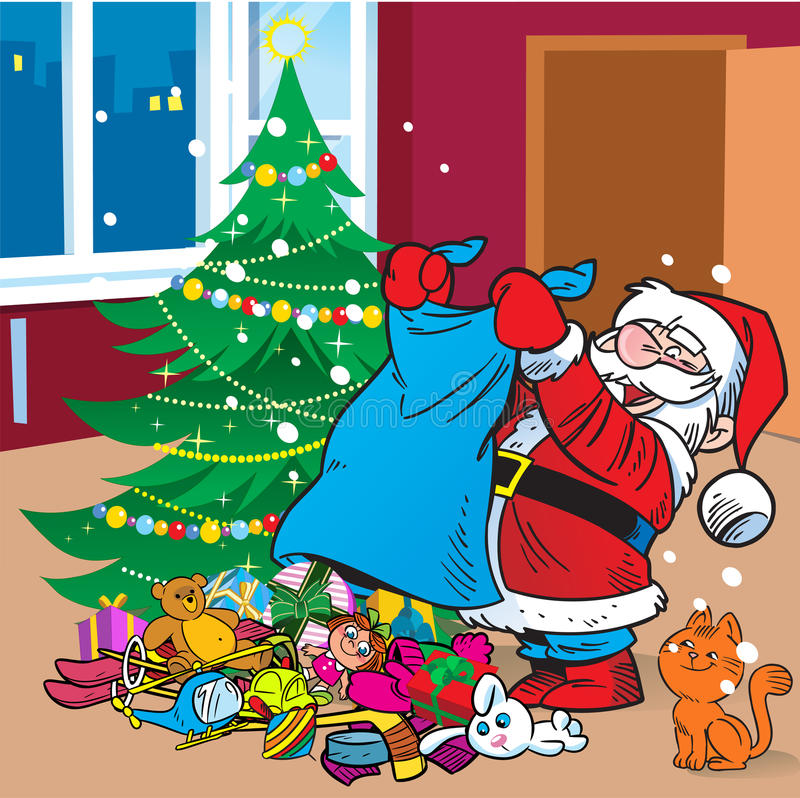 Santa Claus with gifts vector illustration