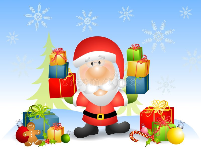 Download Santa Claus With Gifts stock illustration. Image of character - 6776106