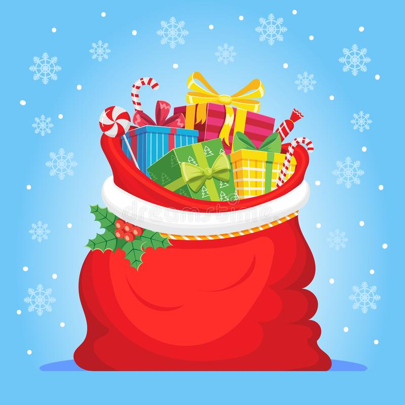 Santa Claus gifts in bag. Christmas presents sack, pile of sweets gift and xmas vector illustration vector illustration