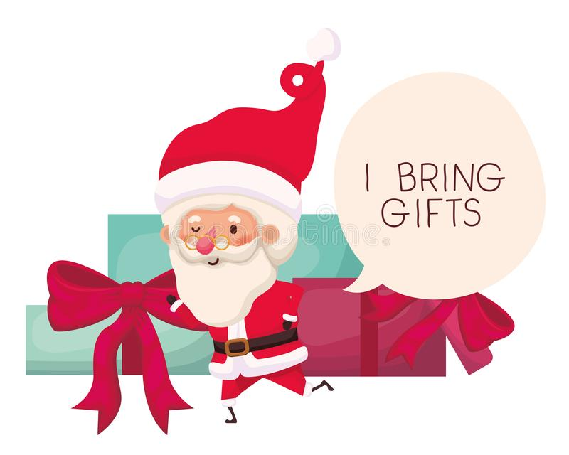 Santa claus with gifts boxs avatar character stock illustration