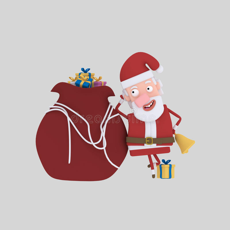 Santa claus with gifts. 3D vector illustration