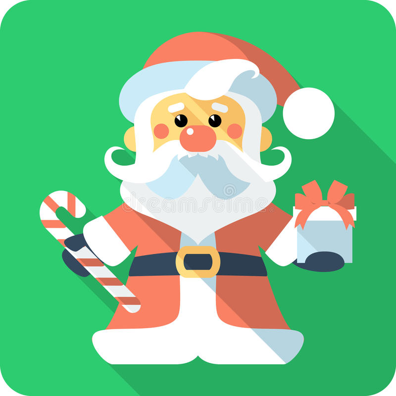 Santa Claus with gifts icon flat design stock images