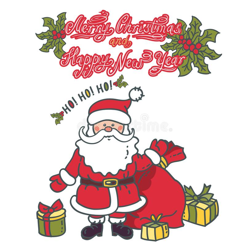 Santa Claus with gifts. Illustration greeting card with text vector illustration