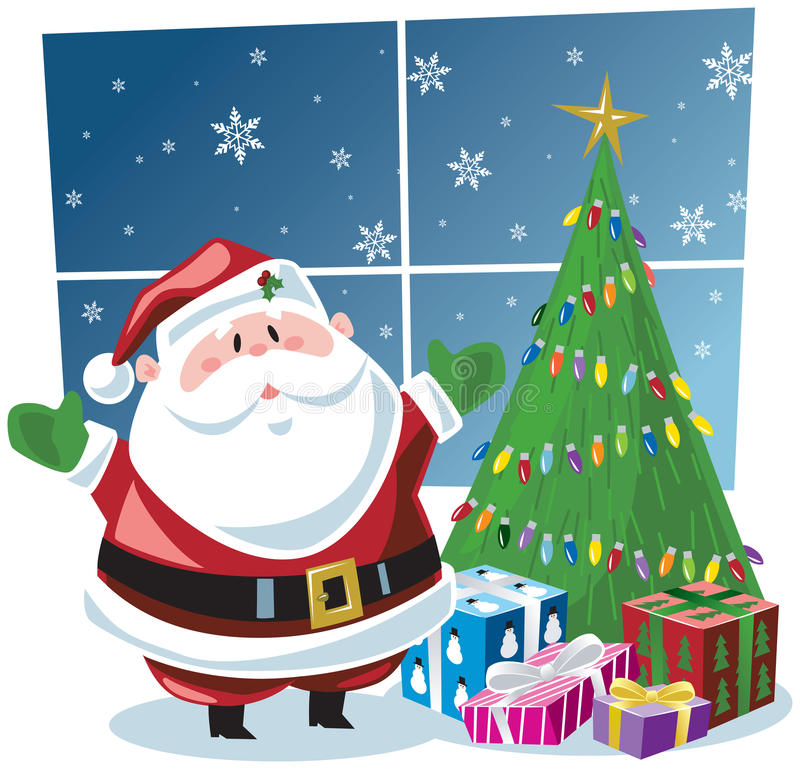 Download Santa Claus With Gifts Under Christmas Tree Stock Vector