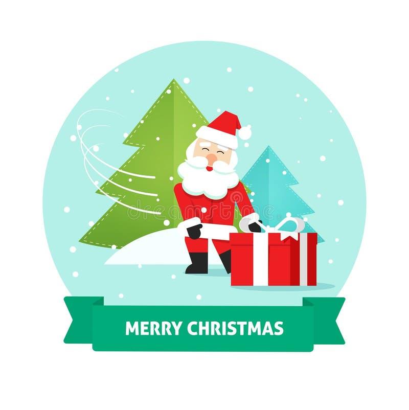 Santa Claus-giftvakje, Vrolijke Kerstkaart, Nieuwjaarlevering royalty-vrije illustratie