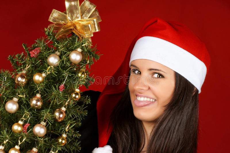 Santa Claus girl with Christmas tree royalty free stock image