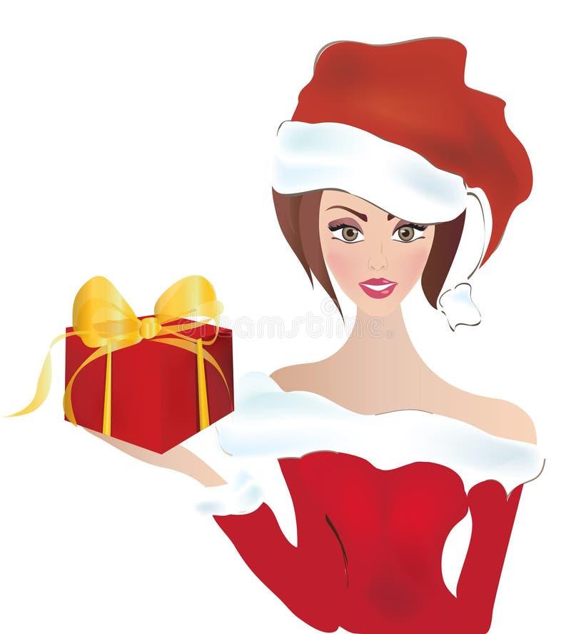 Santa Claus Girl. Fräulein Santa With ein Hut und ein Geschenk stock abbildung