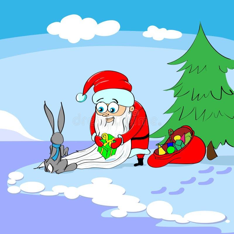 Santa Claus Give Gift Box Bunny Merry Christmas stock illustration