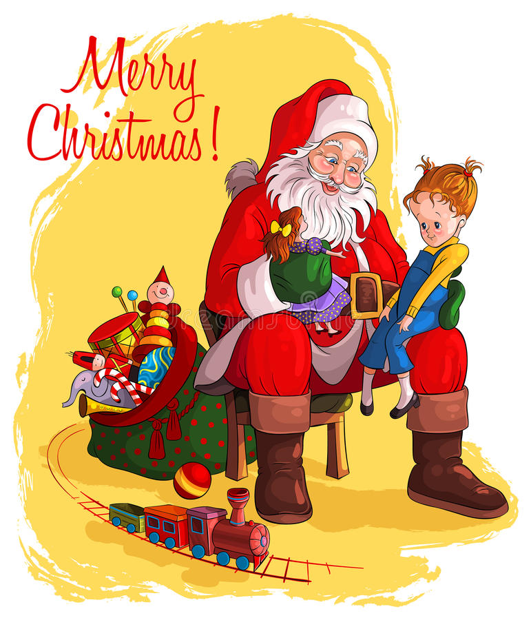 Download Santa Claus Give Presents To Children Stock Vector - Image: 26340911