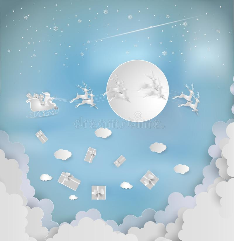 Santa claus giveing a gift with reindeer on the sky and big moon. Coming to city. Merry christmas and new year greeting card concept. Paper art and digital royalty free illustration