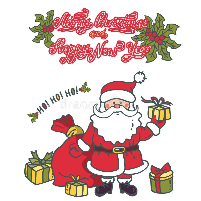 Santa Claus gives gifts. Design greeting card with the text vector illustration