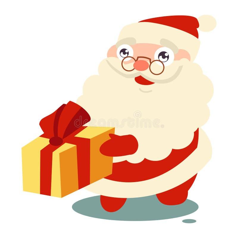 Santa Claus gives gifts. Vector cartoon icon royalty free stock images