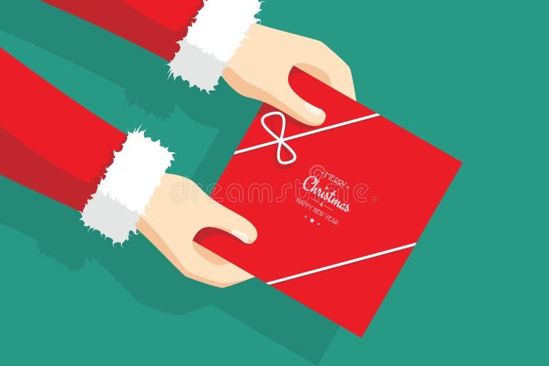 Santa Claus Giving Christmas Gift - Christmas presents - holiday spirit stock photo