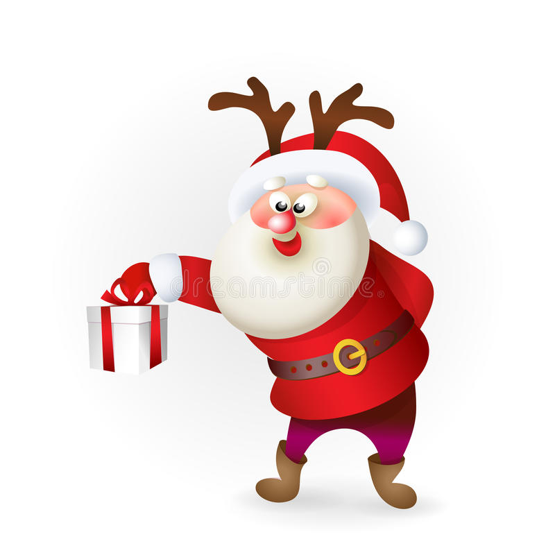 Santa Claus Giving Christmas Present royaltyfri illustrationer