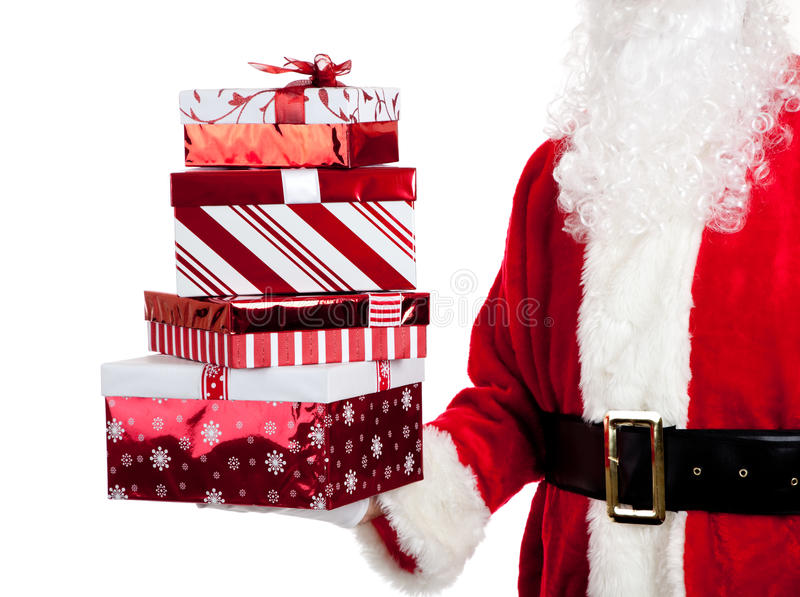 Santa Claus Giving Christmas Presents Royalty Free Stock Images