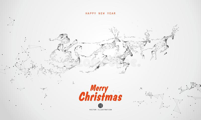 Santa Claus giving gifts, points, lines, faces composed of illustrations. vector illustration
