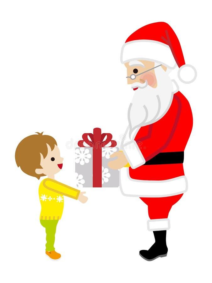 Santa Claus giving Toddler Boy a Christmas Present. Simple cartoon vector Illustration vector illustration