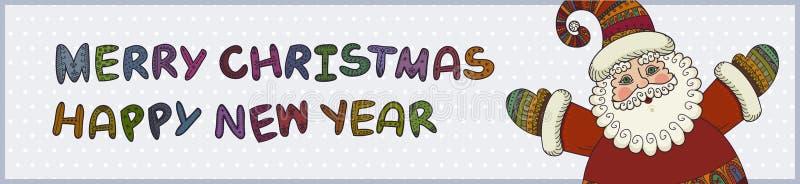 Santa Claus, glad jul och lyckligt nytt år stock illustrationer