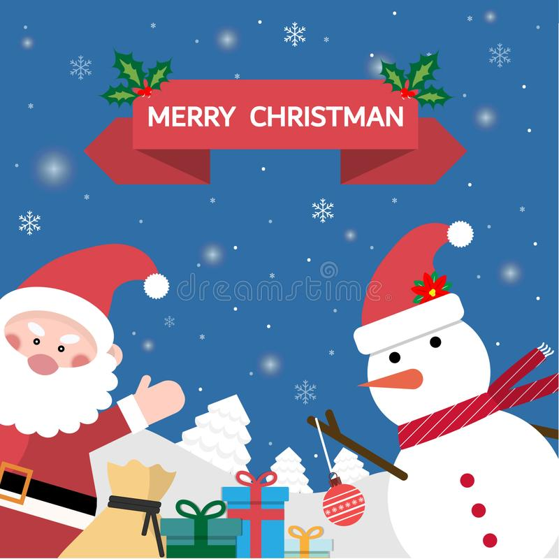 Santa Claus is glad There are many gifts and snowballs in the snow with Christmas message. stock illustration