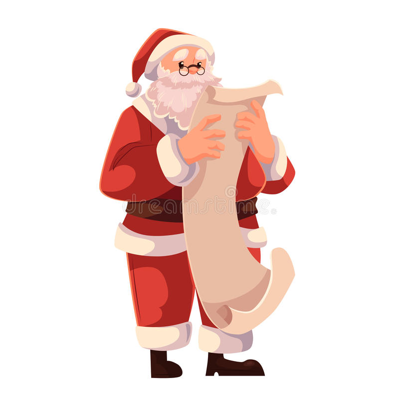 Santa Claus in glasses reading a long scroll of paper vector illustration