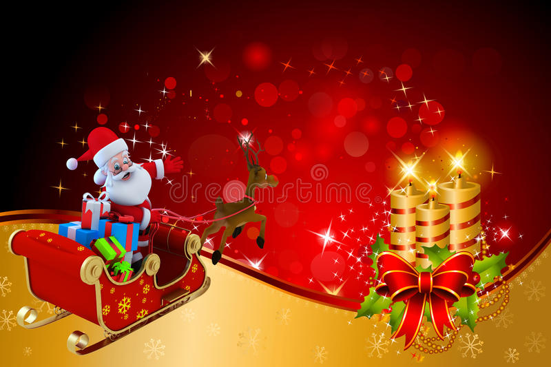 Download Santa Claus Is Going Towards A Big Golden Candles Stock Illustration - Image: 26666270