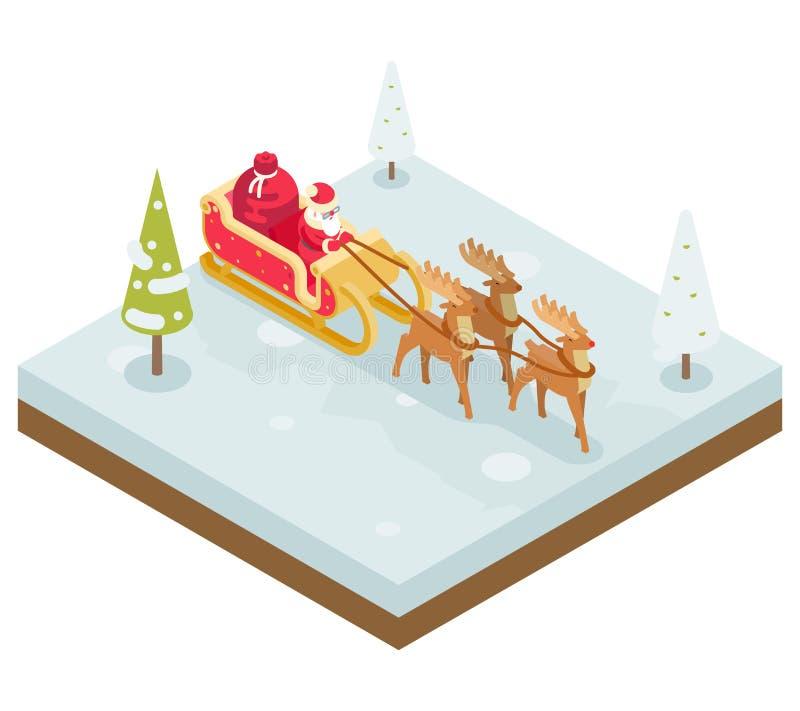 Santa Claus Grandfather Frost Sleigh Reindeer stock illustratie