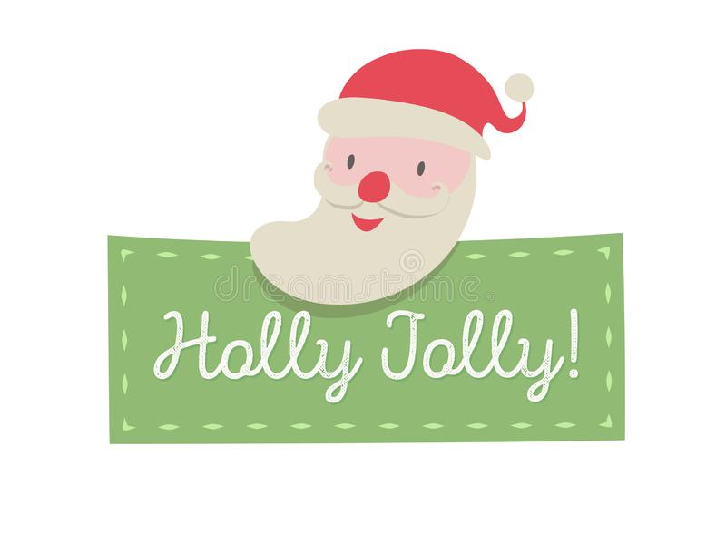 Santa Claus greeting card cute cartoon style. For tag,banner, decoration, web site, calendar, holiday cover vector illustration