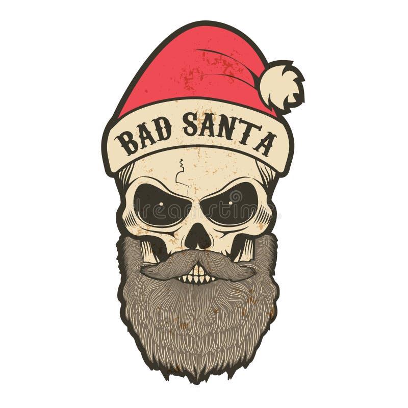 Santa Claus in a grunge style. Portrait of Santa Claus in a grunge style with the inscription on the cap, Bad Santa. Biker Santa. Illustration for printing on T stock illustration