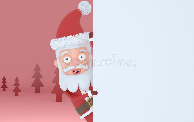 Santa Claus guardando os cartazes brancos em uma floresta vermelha ilustração 3D ilustração royalty free