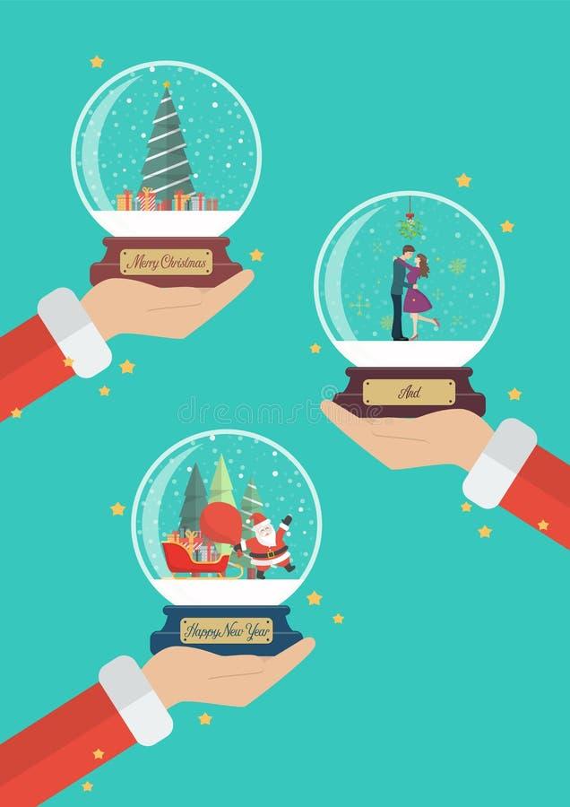 Santa Claus händer rymmer härliga julexponeringsglasbollar vektor illustrationer