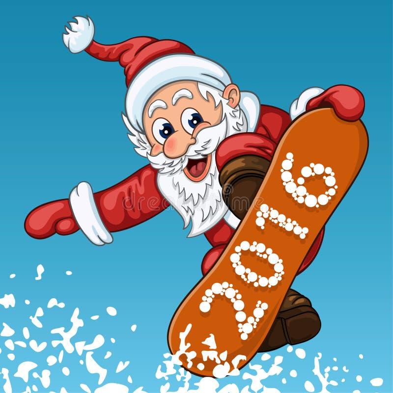 Santa Claus hace salto en la snowboard libre illustration