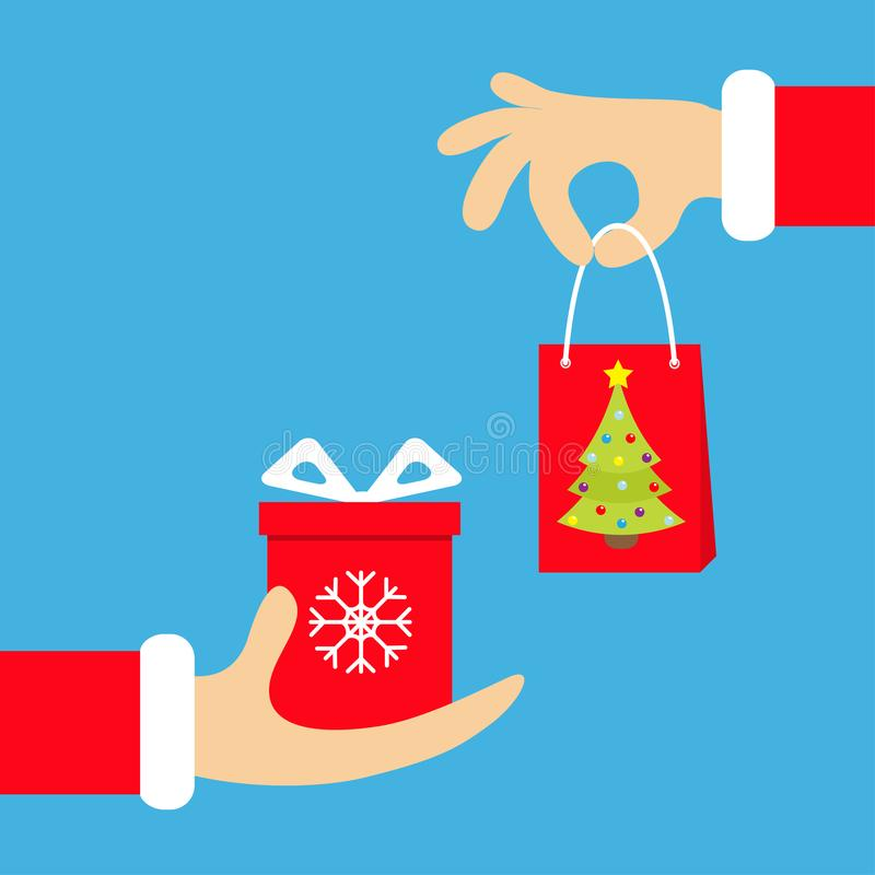 Santa Claus hand holding gift box with bow, giving shopping vector illustration