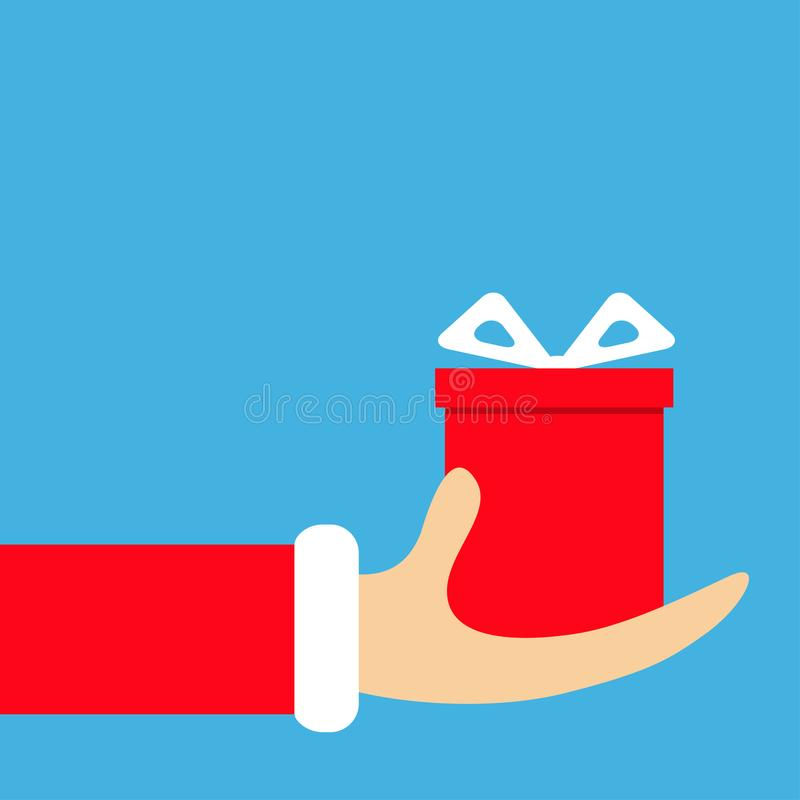 Santa Claus hand holding gift box with bow. Merry Christmas. Red costume fur. Giving giftbox present. Cute cartoon funny character stock illustration