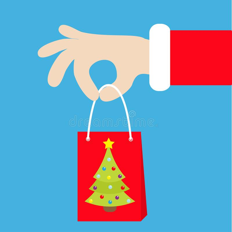 Santa Claus hand holding gift shopping paper bag with fir tree. Merry Christmas. Red costume fur. Giving present. Cute cartoon kaw stock illustration