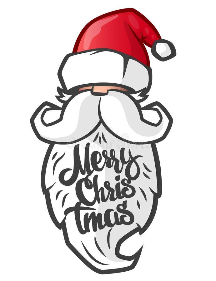 Santa Claus and handmade lettering Merry Christmas on the beard. stock illustration