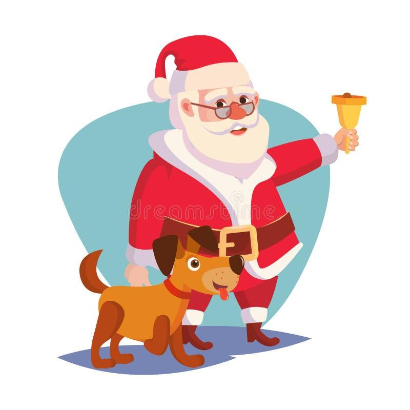 Santa Claus And Happy Dog Vector Oro de sonido Bell y sonrisa 2018 años del concepto del perro Historieta Santa Character libre illustration