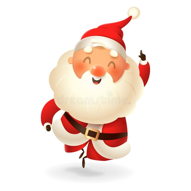 Santa Claus - happy expression - point finger up - vector illustration isolated on transparent background stock illustration