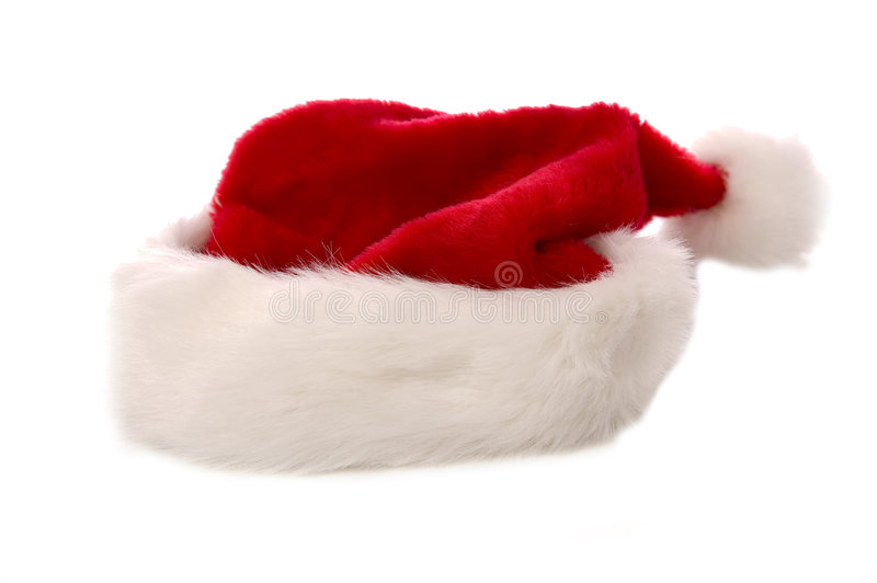 Santa Claus Hat. A Christmas Santa Claus hat on a white background royalty free stock photos