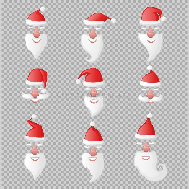 Santa Claus hat and beard with nose and mouth mask set vector illustration