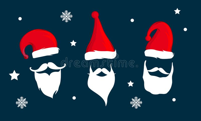 Santa Claus hat and beard. Vector illustration design vector illustration
