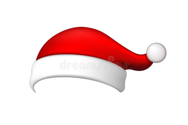 Santa Claus hat 3D. Realistic Santa Claus hat isolated on white background. Red funny cap silhouette. Merry Christmas. Clothes cute design. New year decoration vector illustration