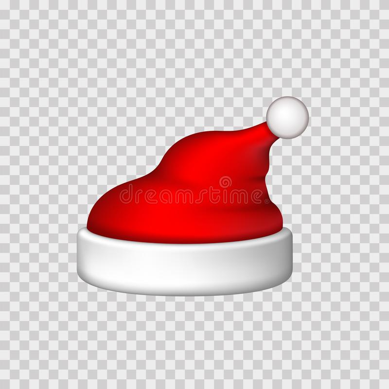 Santa Claus hat 3D. Realistic Santa Claus hat isolated white transparent background Red funny cap silhouette. Merry. Santa Claus hat 3D. Realistic Santa Claus stock illustration