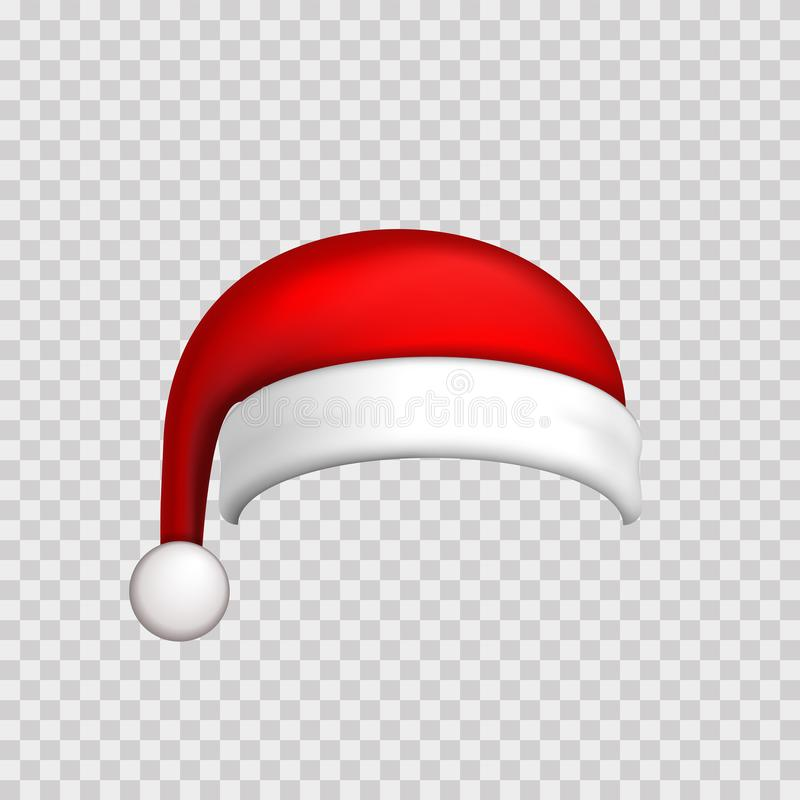 Santa Claus hat 3D Realistic Santa Claus hat isolated white transparent background. Red funny cap silhouette. Merry. Santa Claus hat 3D. Realistic Santa Claus stock illustration