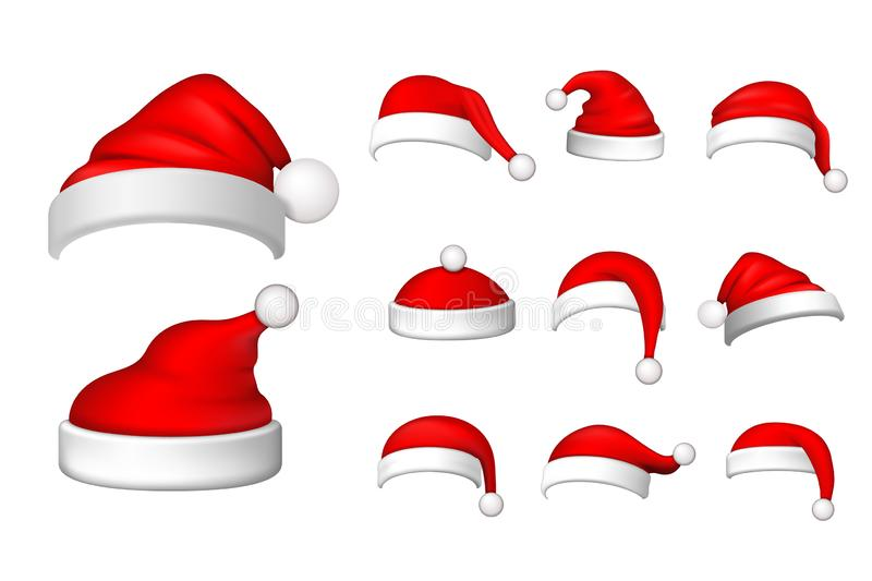 Santa Claus hat 3D set. Realistic Santa Claus hat isolated on white background. Red funny cap silhouette. Merry. Christmas clothes cute design. New year stock illustration