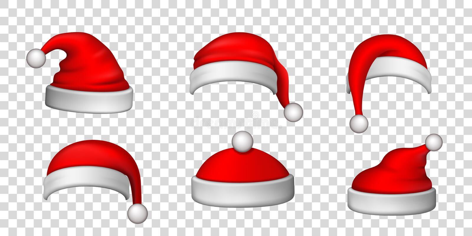Santa Claus hat 3D set. Realistic Santa Claus hat isolated transparent background. Red funny cap silhouette. Merry. Christmas clothes cute design. New year royalty free illustration