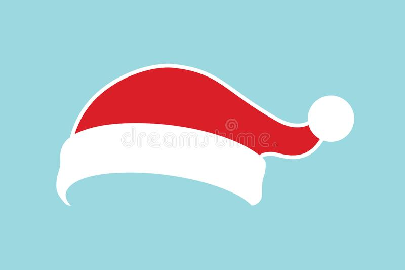 Santa Claus hat flat. Realistic Santa Claus hat isolated blue background. Red funny cap silhouette. Merry Christmas. Clothes cute simple cartoon design. New royalty free illustration