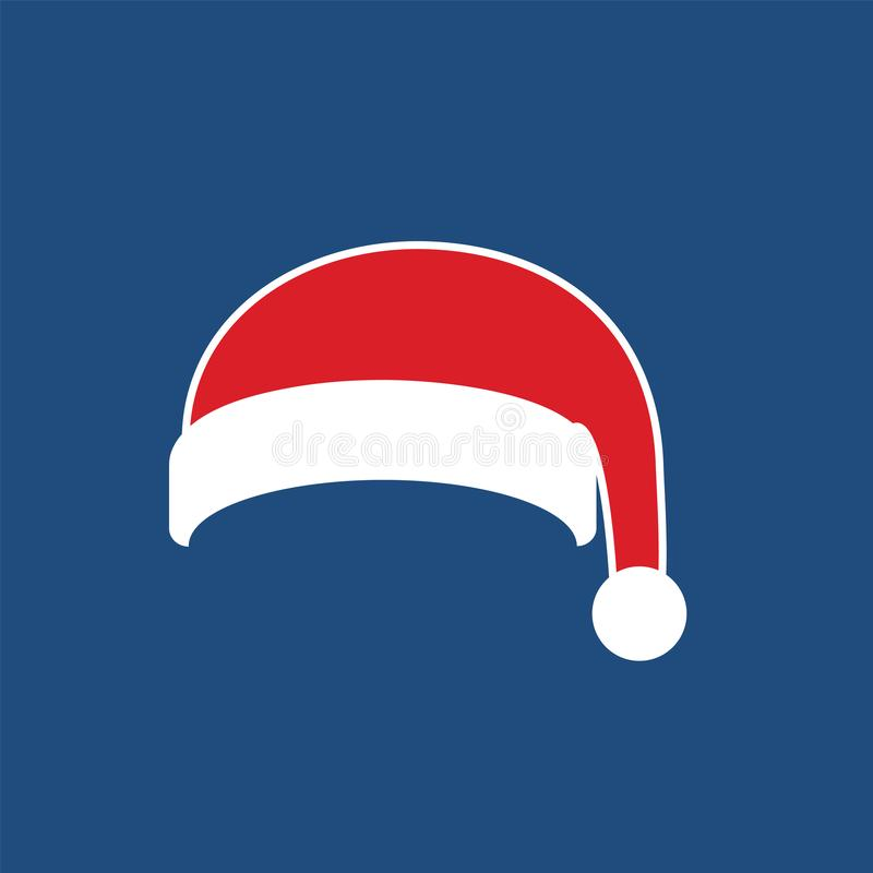Santa Claus hat flat. Realistic Santa Claus hat isolated blue background. Red funny cap silhouette. Merry Christmas. Clothes cute simple cartoon design. New vector illustration