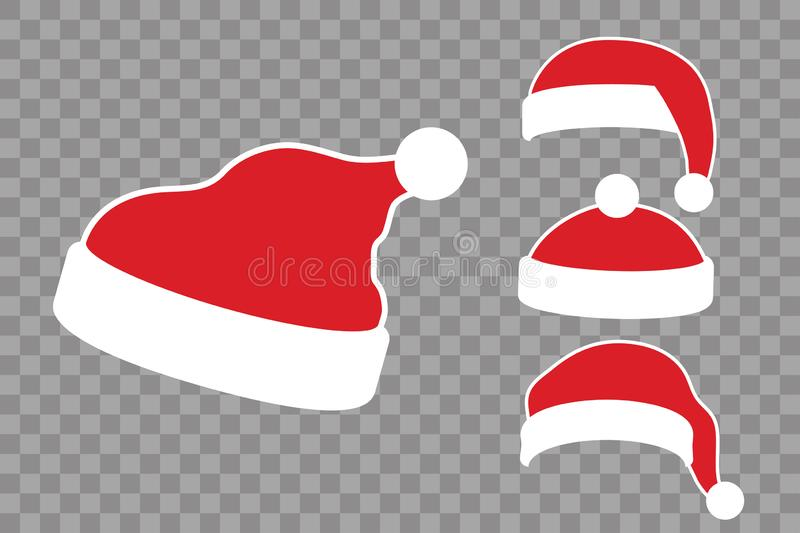 Santa Claus hat flat set. Realistic Santa Claus hat isolated transparent background. Red funny cap silhouette. Merry. Christmas clothes cartoon design. New year vector illustration