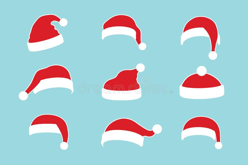Santa Claus hat flat set. Realistic Santa Claus hat isolated blue background. Red funny cap silhouette. Merry Christmas. Clothes cute cartoon design. New year stock illustration